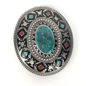 Vintage 1999 silver Native American belt buckle